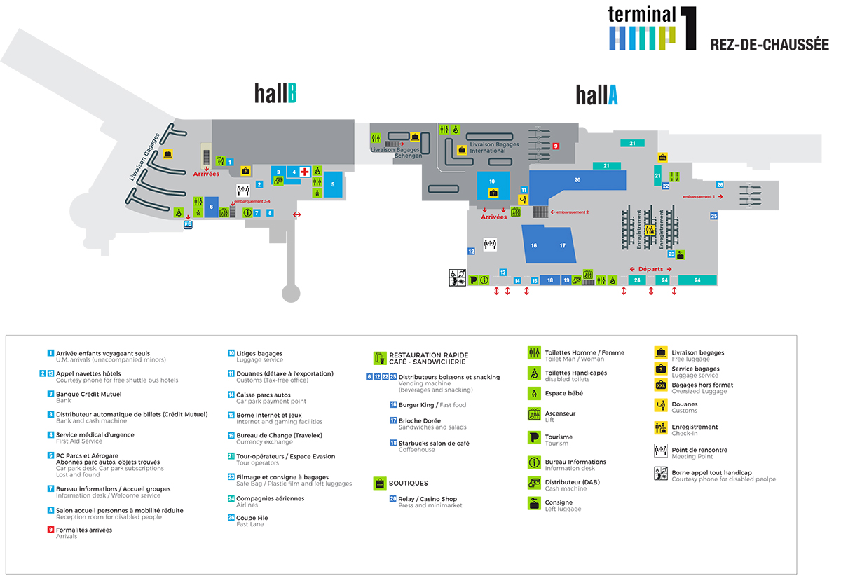 Plan du Hall A aéroport de Marseille Provence